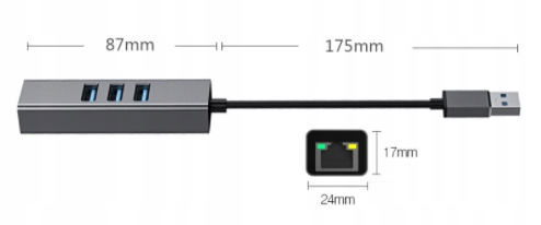 KARTA SIECIOWA HUB 3x USB 3.0 GIGABIT 1000Mbs RJ45 Rodzaj portów Ethernet (RJ-45)