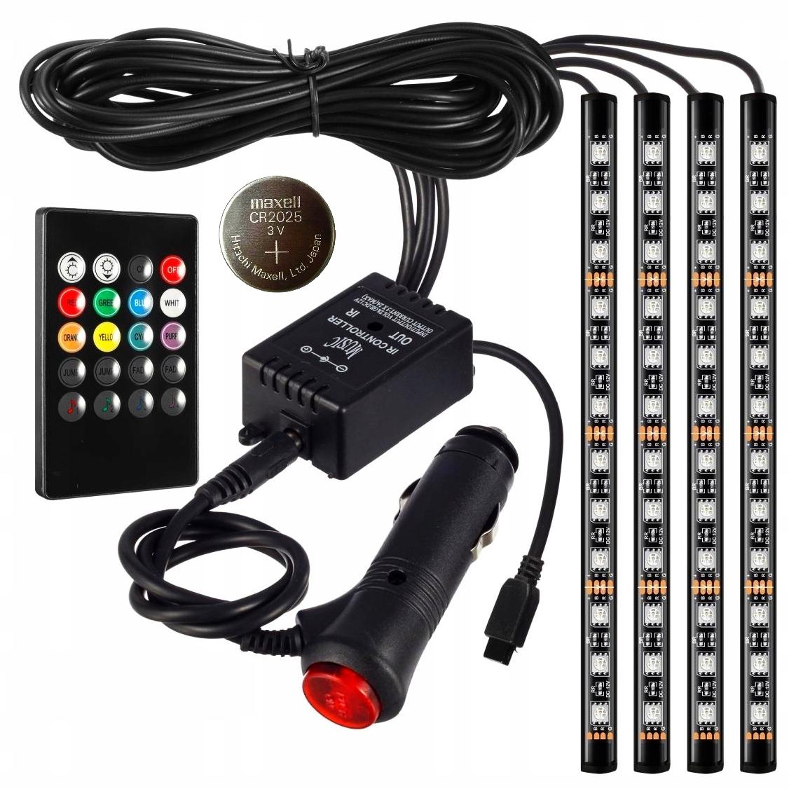 освещение интерьер кабины автомобиля 48 led rgb пульт