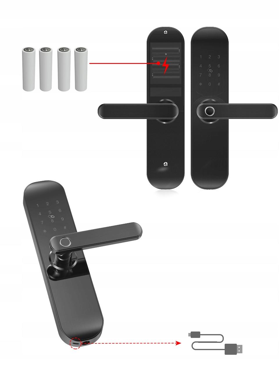INTELIGENTNA KLAMKA NA ODCISK PALCA TUYA WIFI NFC Cechy dodatkowe łączność z wifi