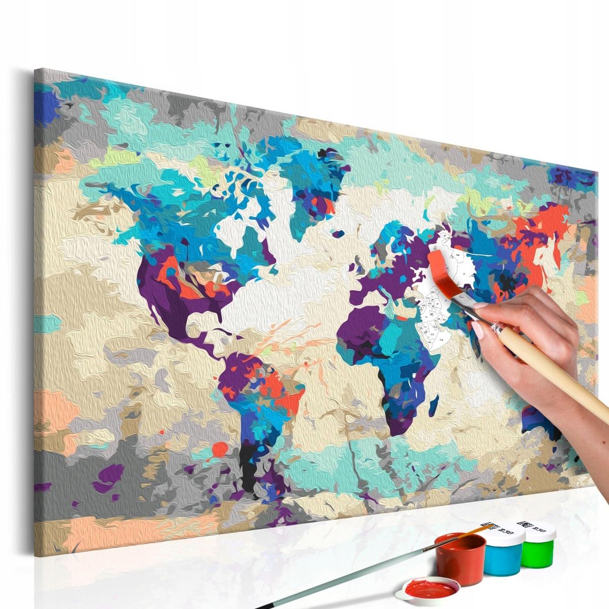 Obraz do malowania farbami - Mapa świata 60x40