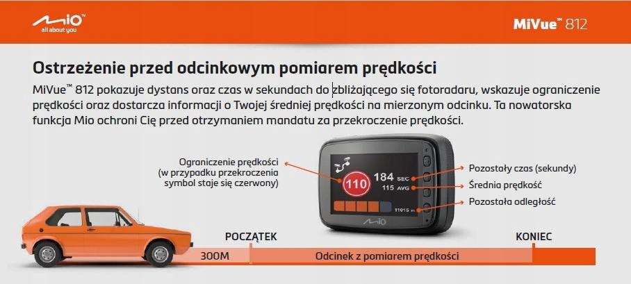 MIO MiVue 812 REJESTRATOR GPS 1440p, 60kl/s, AVG Złącza czytnik kart pamięci miniUSB