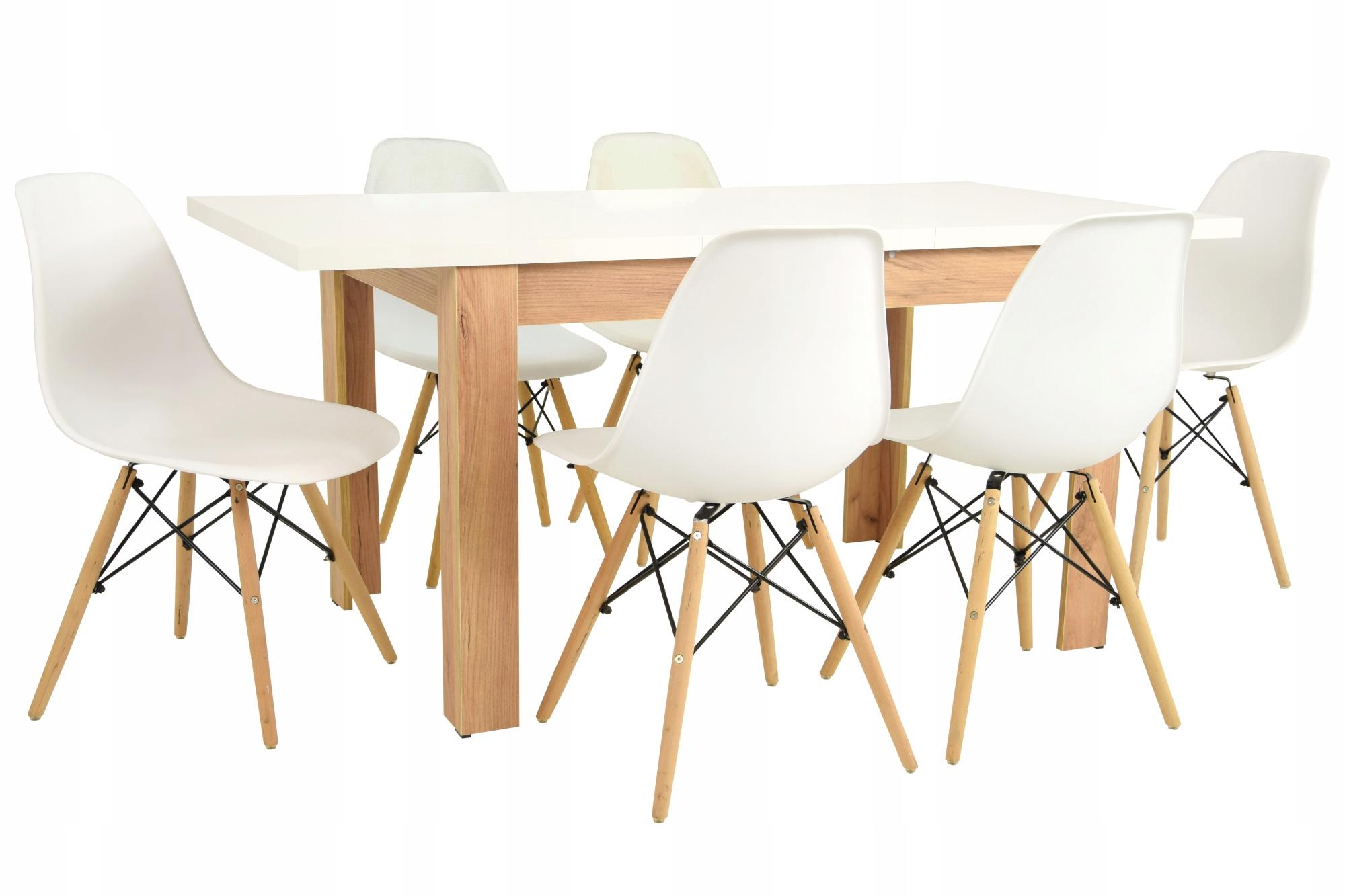 Zestaw do jadalni 6 krzeseł i stół ROZKŁADANY