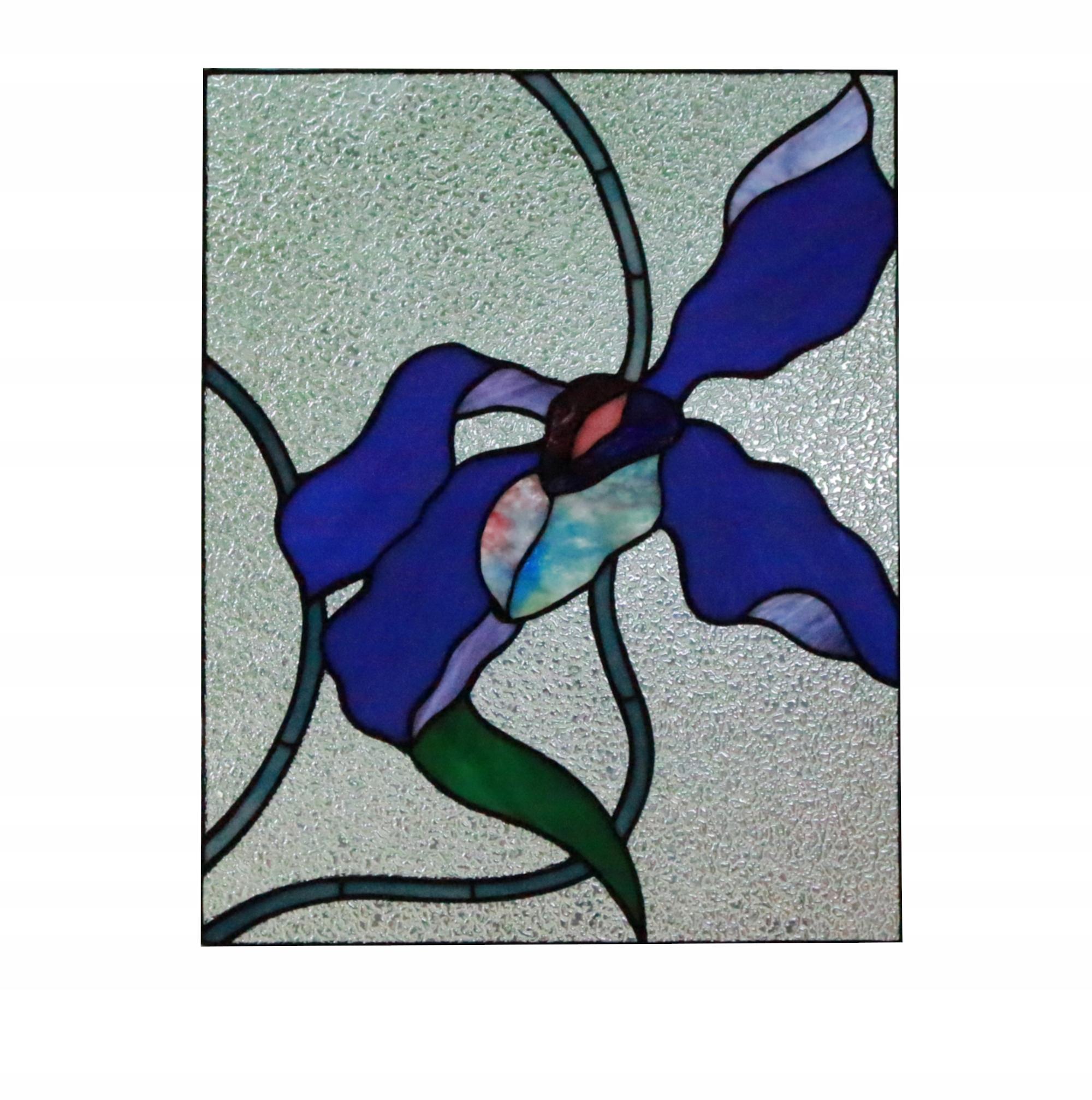 Современный синий витраж Орхидея Тиффани