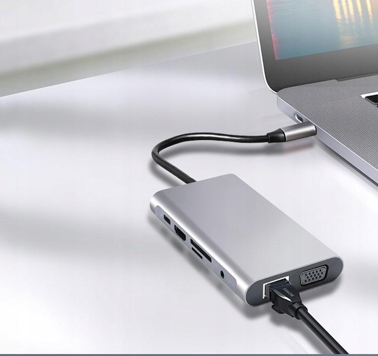HUB USB-C 11w1 Adapter HDMI 4K VGA Jack SD RJ45 M1 Producent Zenwire