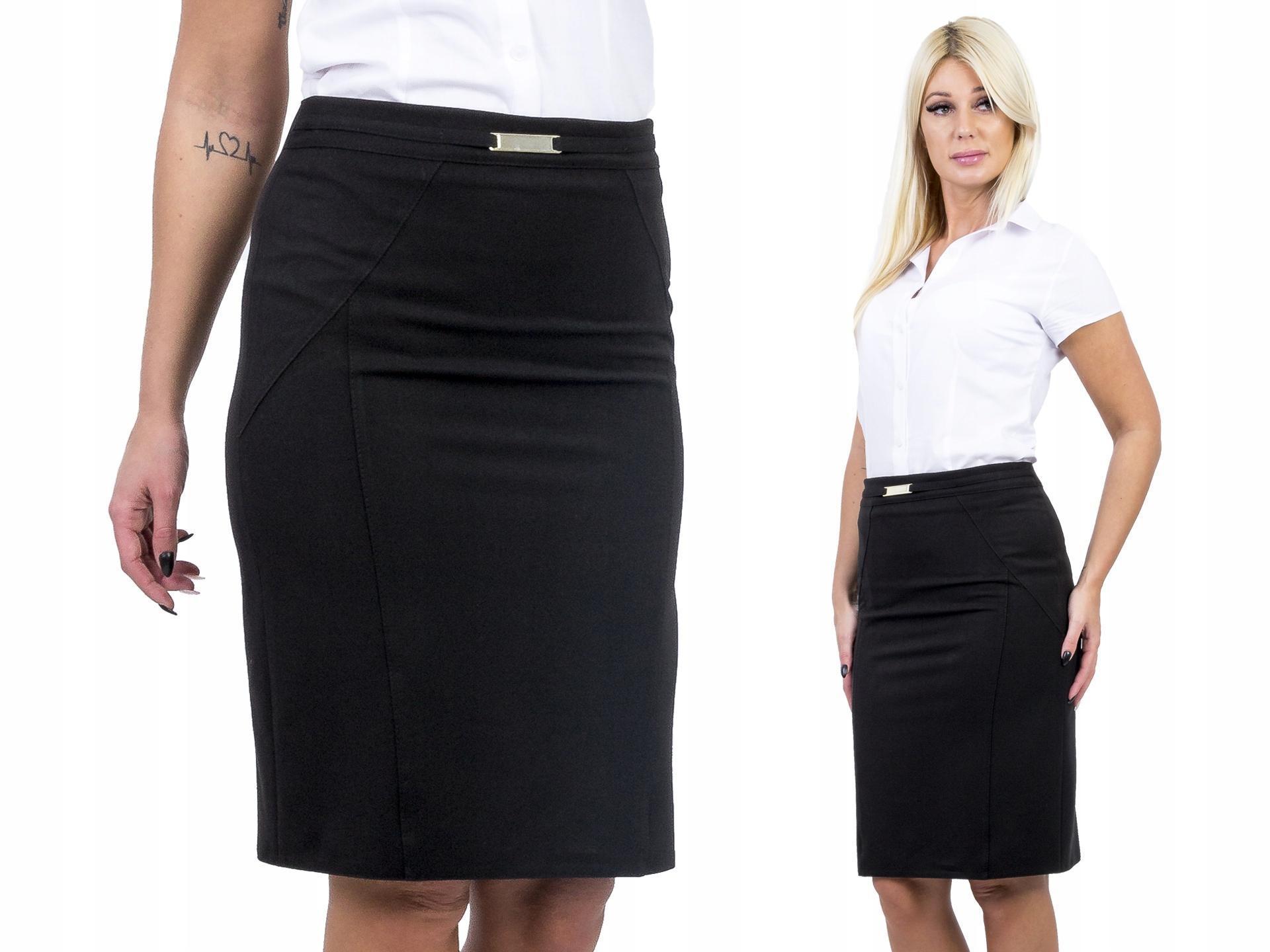 D330 Elegancka Spódnica Ołówkowa Czarna r. 52