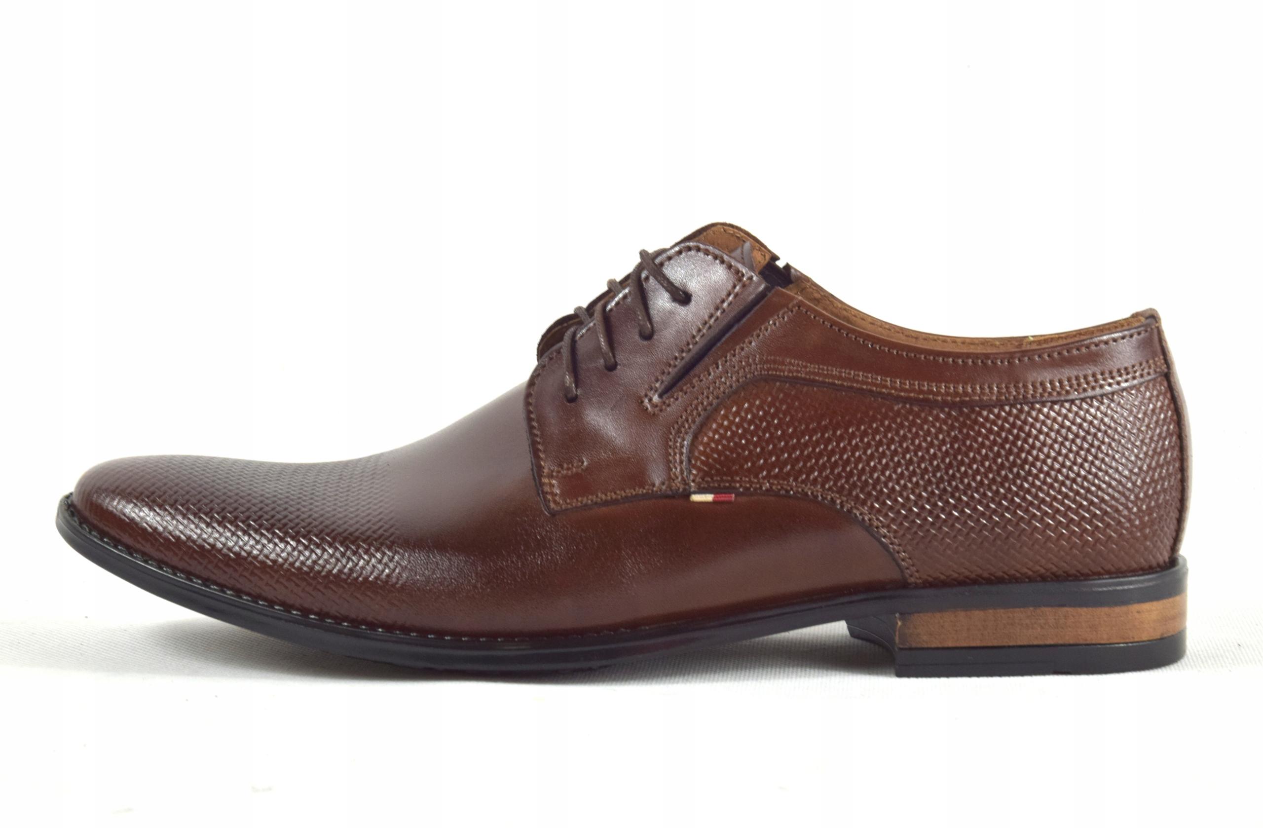 Buty męskie wizytowe skórzane brązowe obuwie 359/1 Długość wkładki 28.8 cm