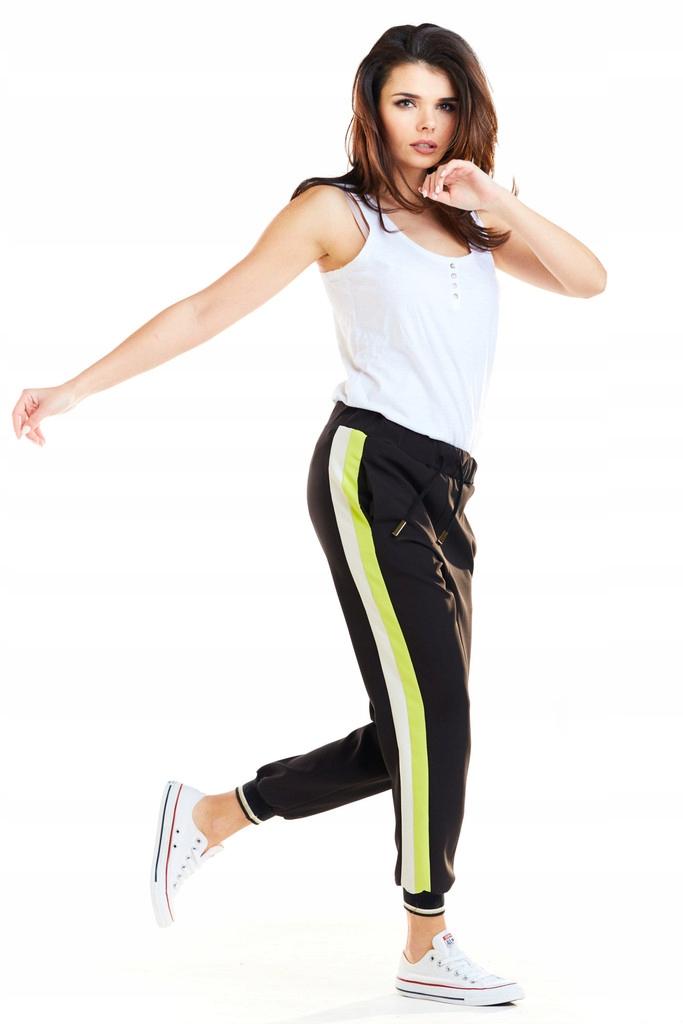 Eleganckie Długie Spodnie Cygaretki z Lampasami XL
