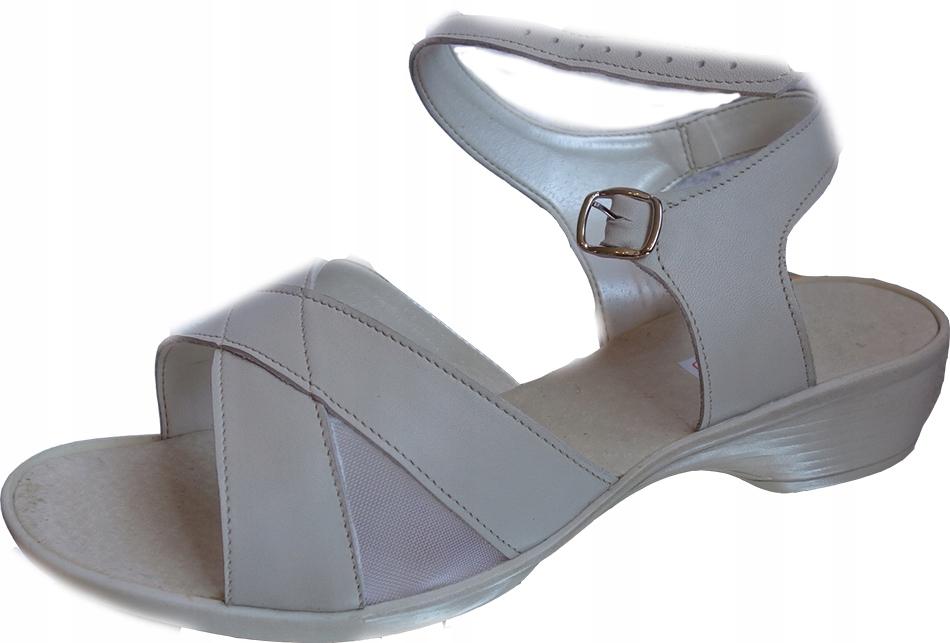 Skórzane sandały na wysokie podbicie haluksy 37