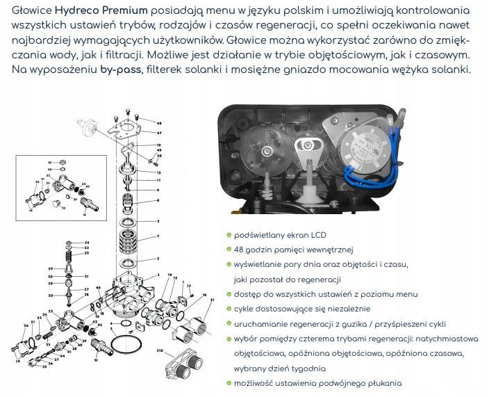 Głowica sterująca HYDRECO PREMIUM do zmiękczaczy Pojemność 1 l