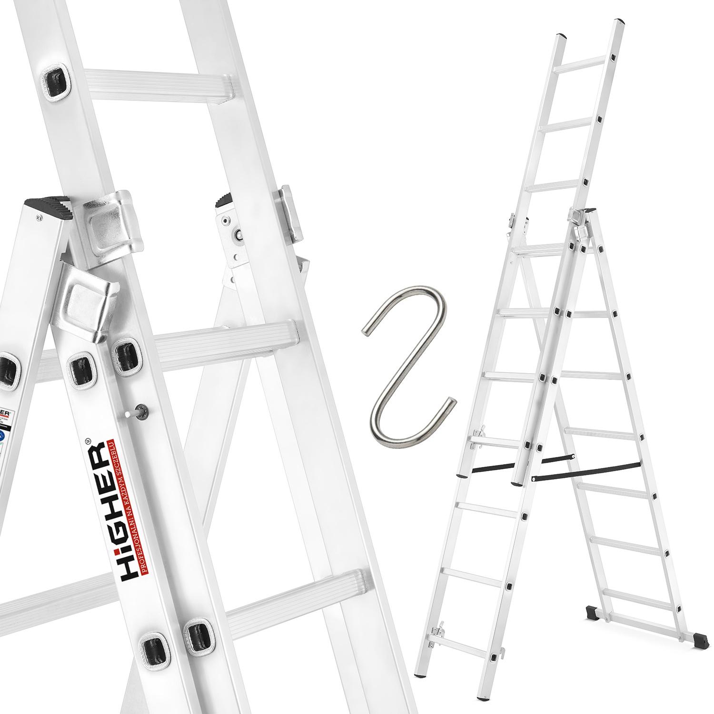 DRABINA aluminiowa 3x7 HIGHER najdłuższa 150kg