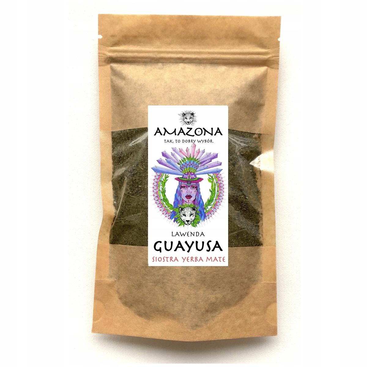 GUAYUSA LAWENDA 250g Siostra Yerba Mate AMAZONA Cechy dodatkowe niesiarkowane niski indeks glikemiczny niskotłuszczowe odpowiednie dla diety ketogenicznej raw (surowe) superfood wegańskie wegetariańskie