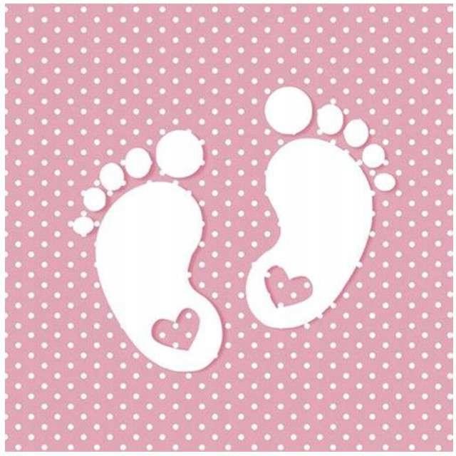 SERWETKI papierowe STÓPKI roczek BABY SHOWER 20szt
