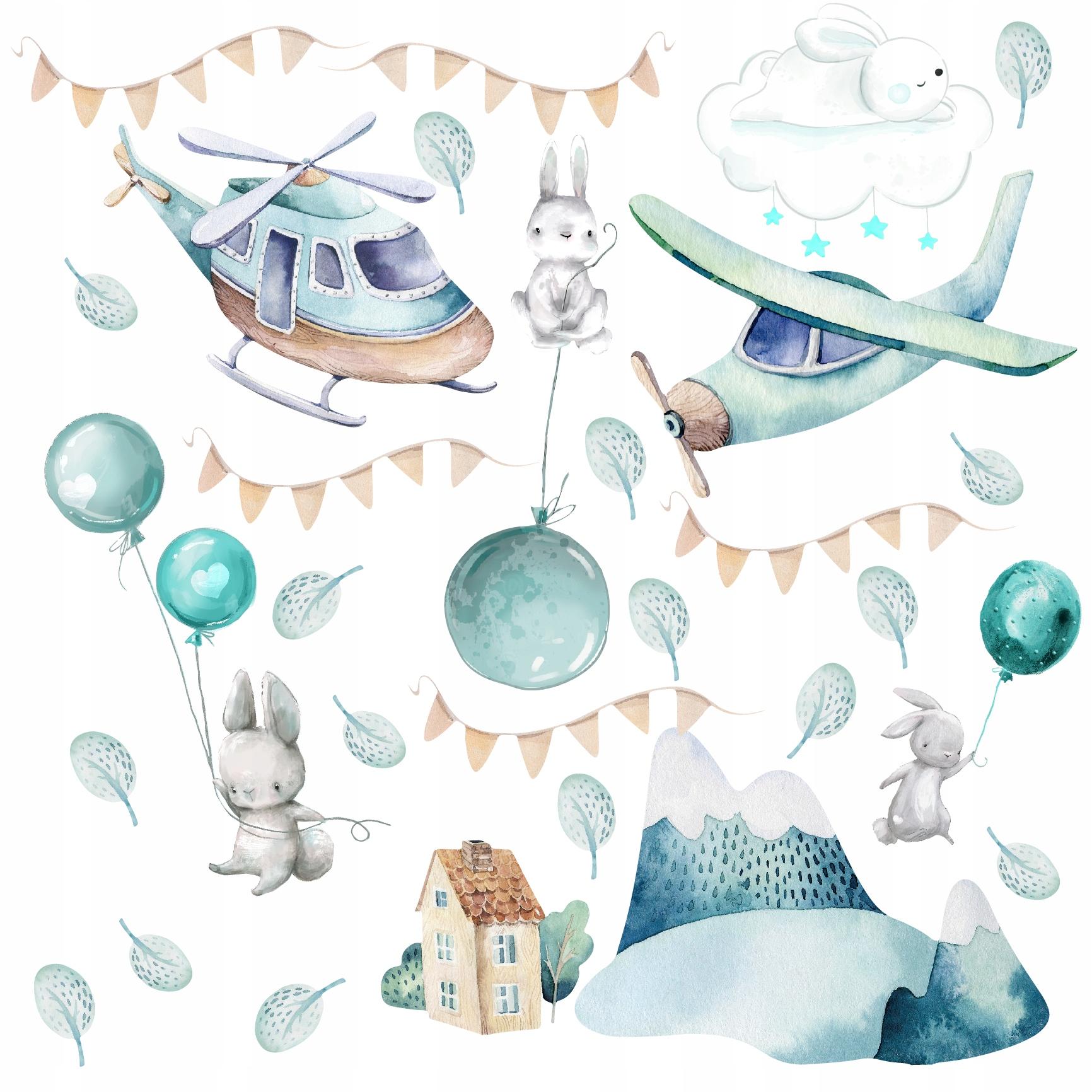 naklejki dla dzieci na ścianę balony króliki balon