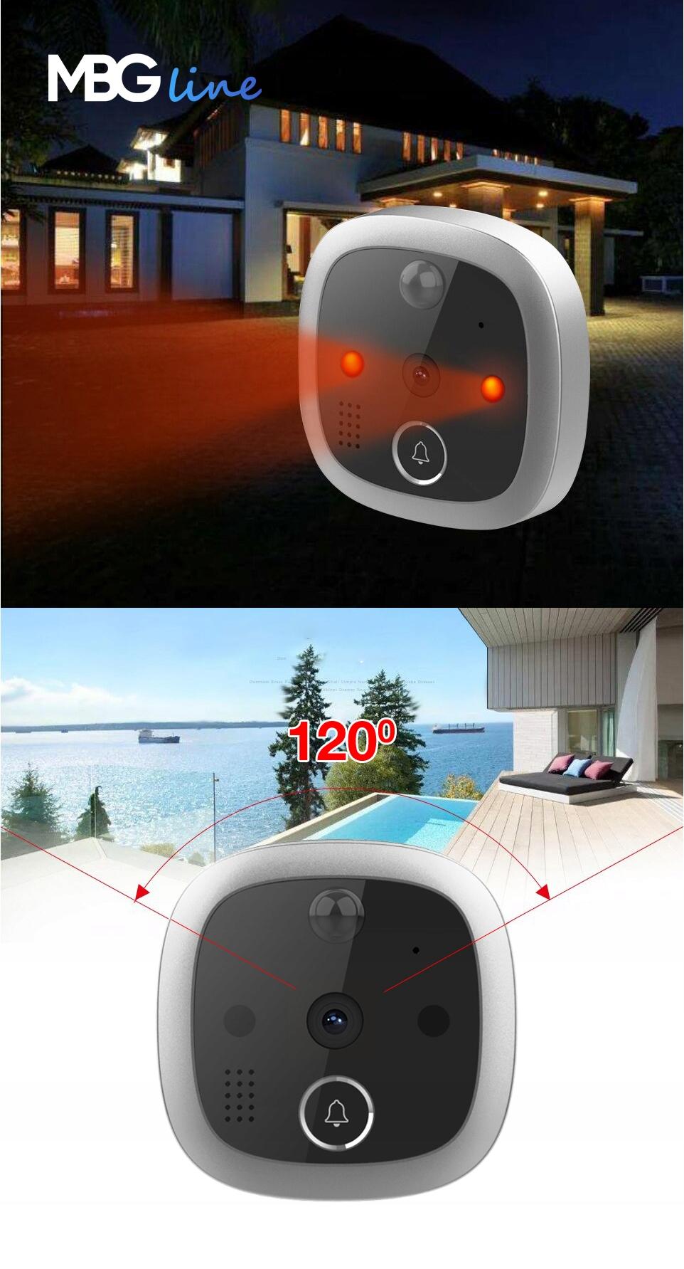 WIZJER LCD ZDJĘCIA DZWONEK JUDASZ CZUJNIK RUCHU HD Kąt widzenia 120°