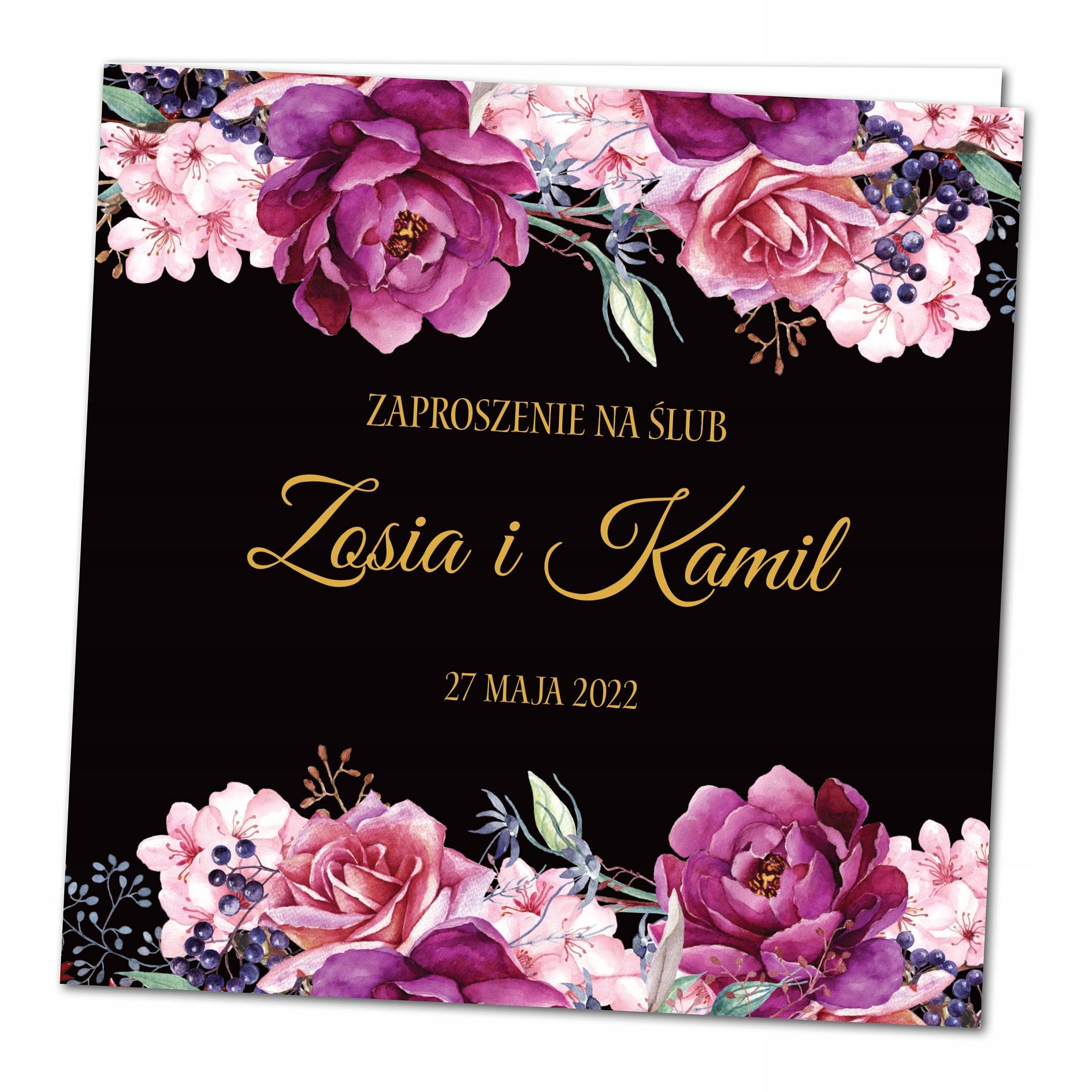 Zaproszenia ślubne rustykalne KWIATOWE BOHO BFK7