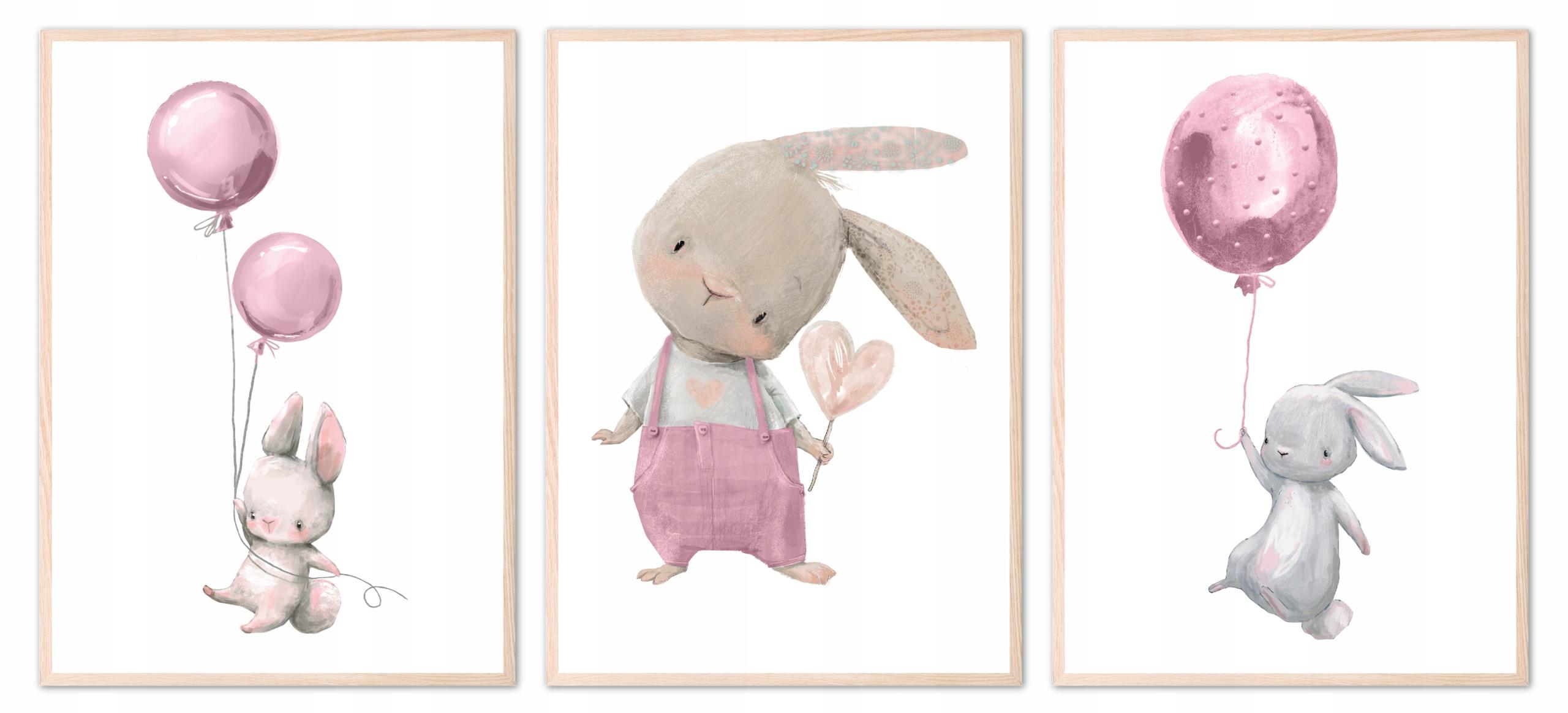 Zestaw 3 plakatów obrazków A3 króliczki różowe