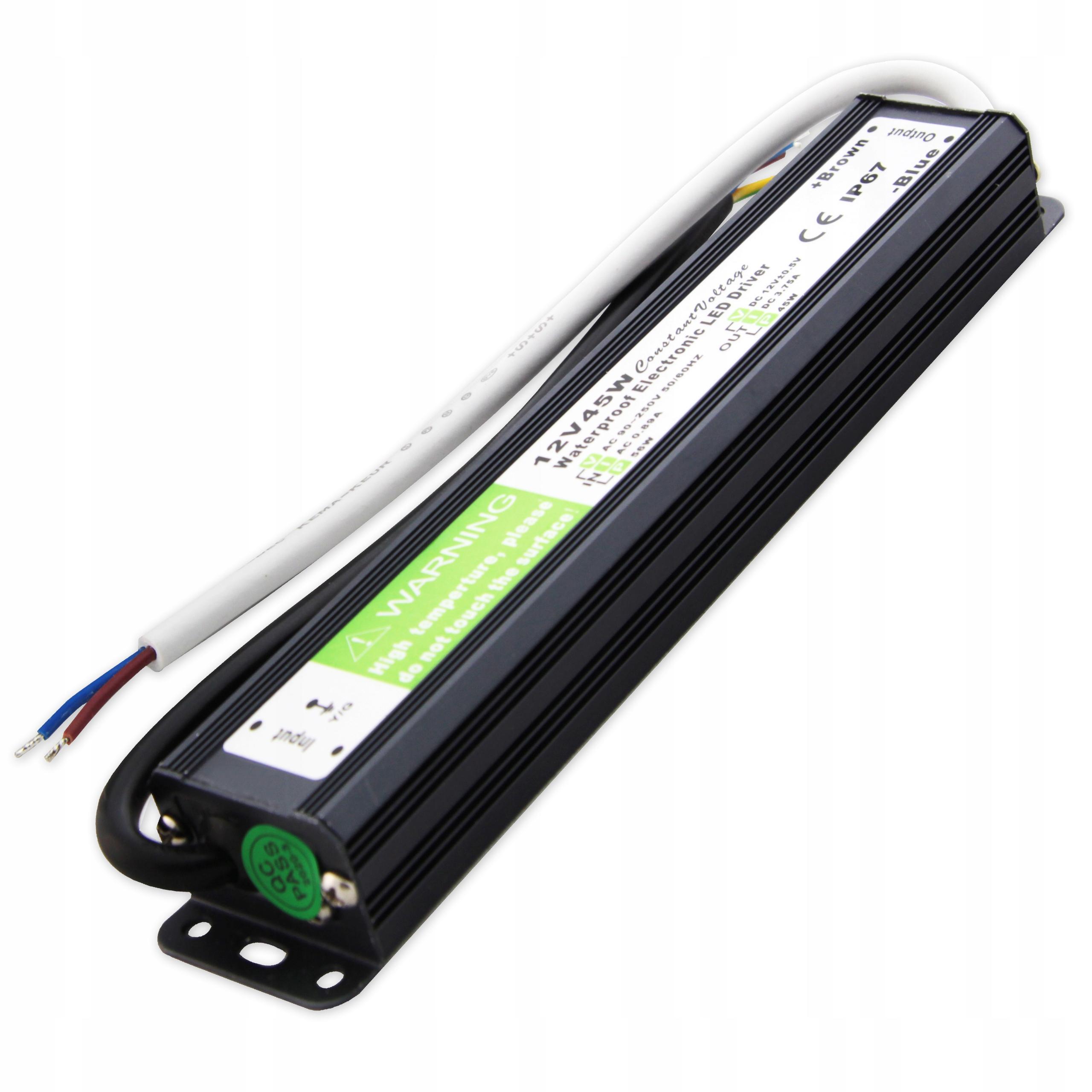 Блок питания SLIM для светодиодных лент 12V 45W водонепроницаемый IP67