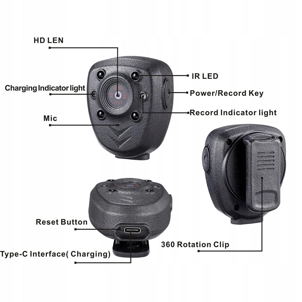PROFESJONALNA Kamera POLICYJNA MONITORING osobisty Nośnik danych SD