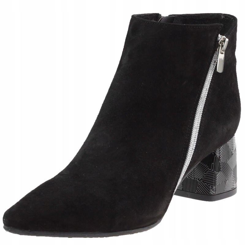 Czarne Botki damskie Nessi 19589 buty skórzane 40
