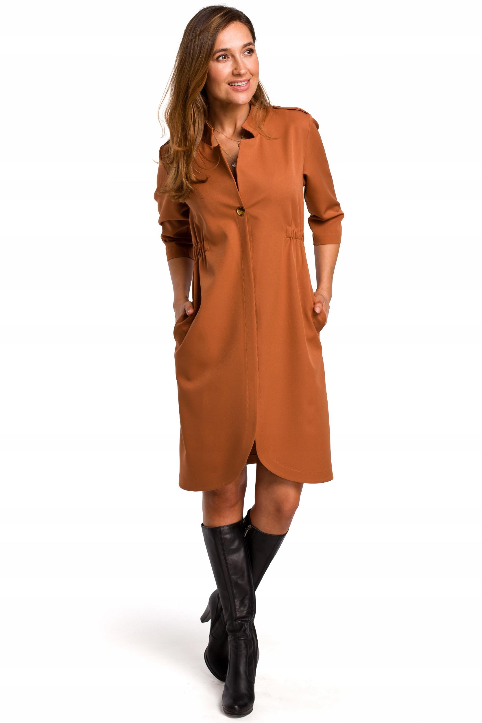 S189 Sukienka żakietowa z gumką w tyle - ruda 38  