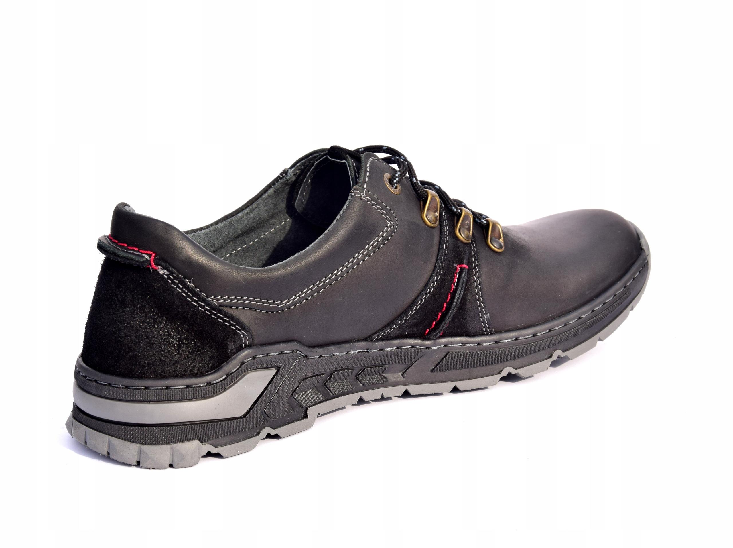 Półbuty trekkingowe obuwie skórzane polskie 0242 Długość wkładki 30 cm