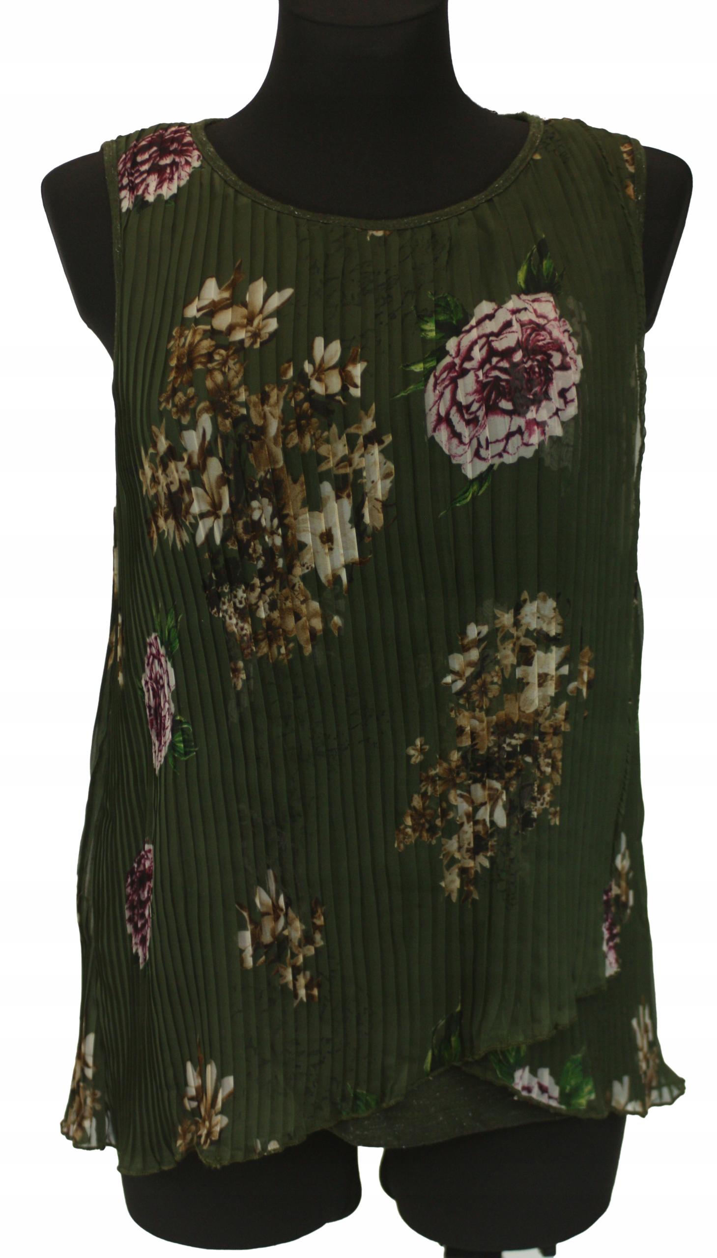 DESIGUÁLNA retro kvetinová vintage skladaná blúzka XL