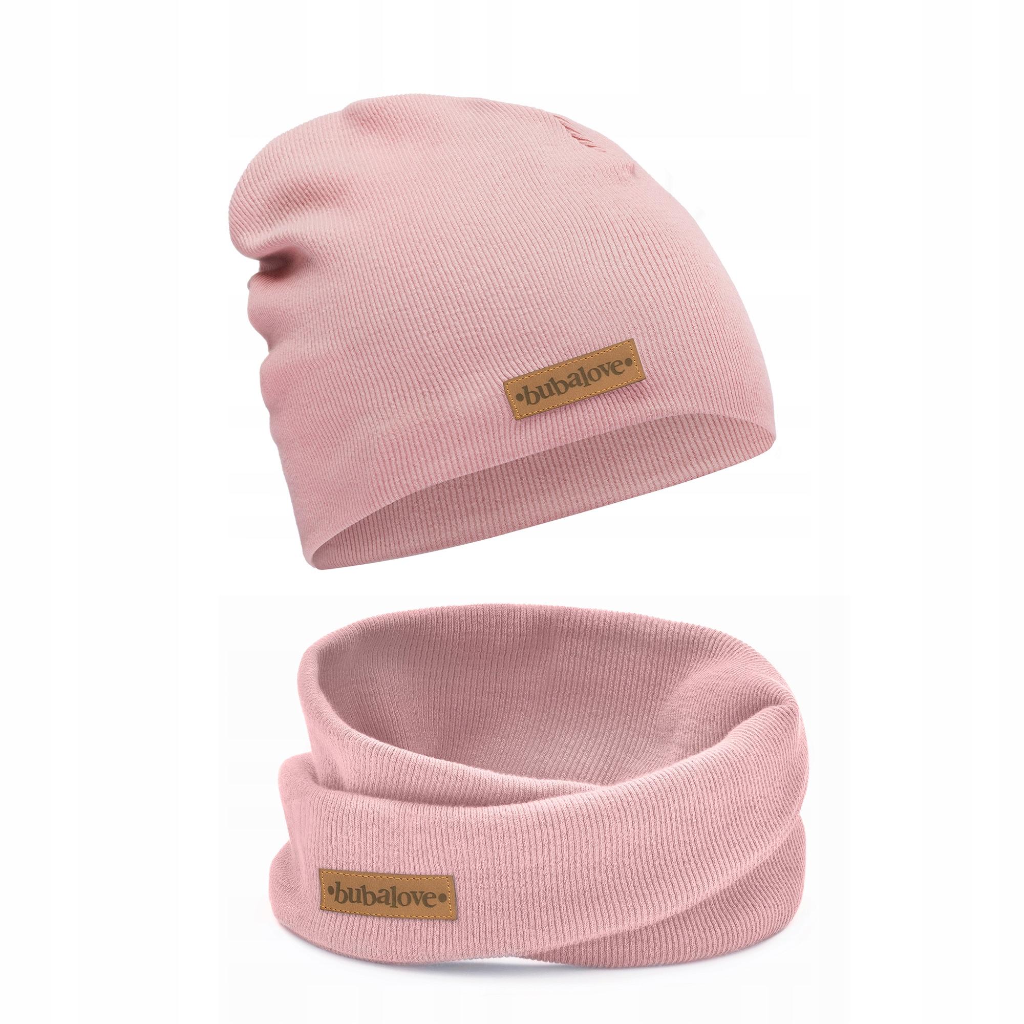 Весенне-осенняя шапка и снуд, в розовую полоску 50-56