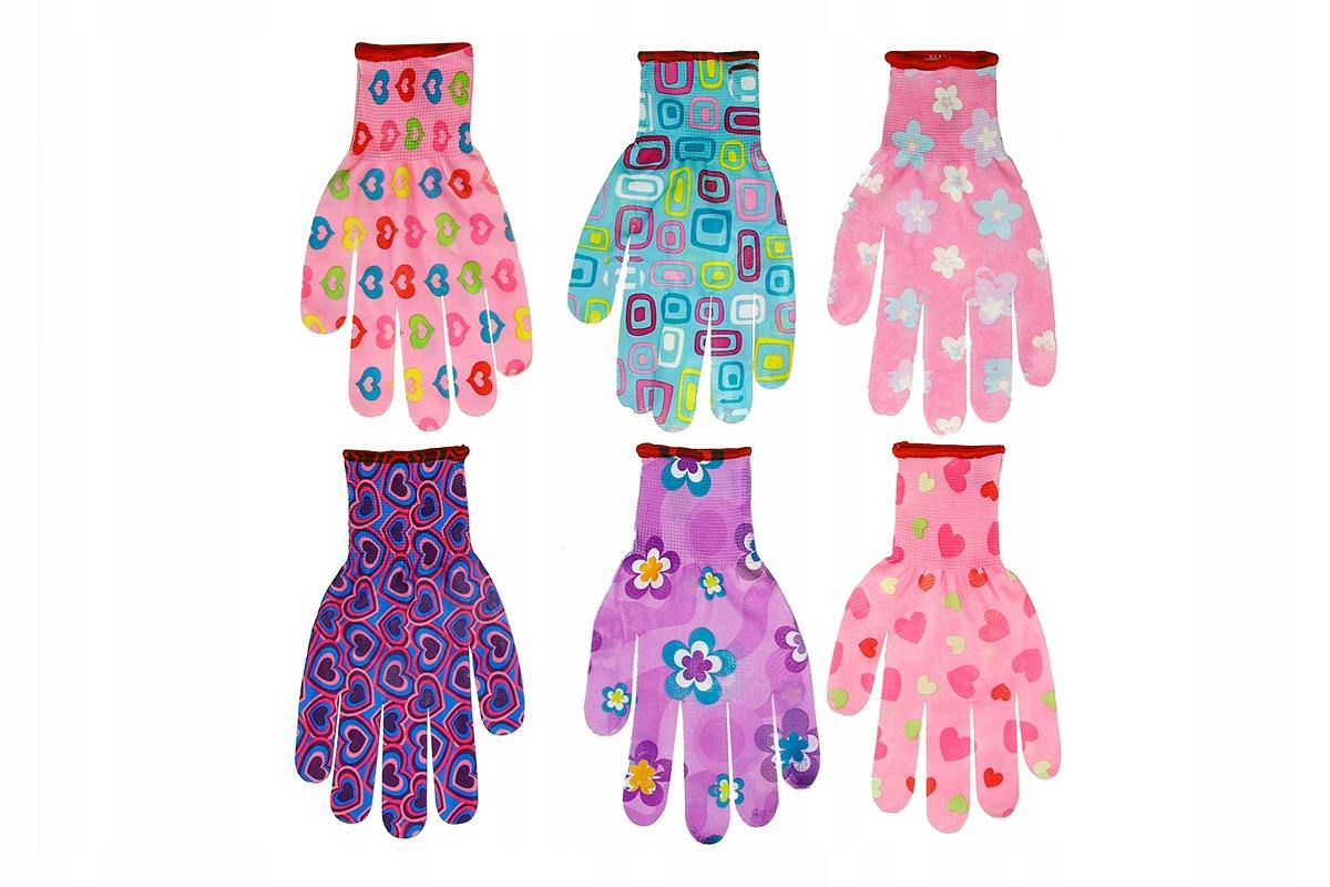 Rękawice ochronne do ogrodu kobiece r. M 6 PAR mix