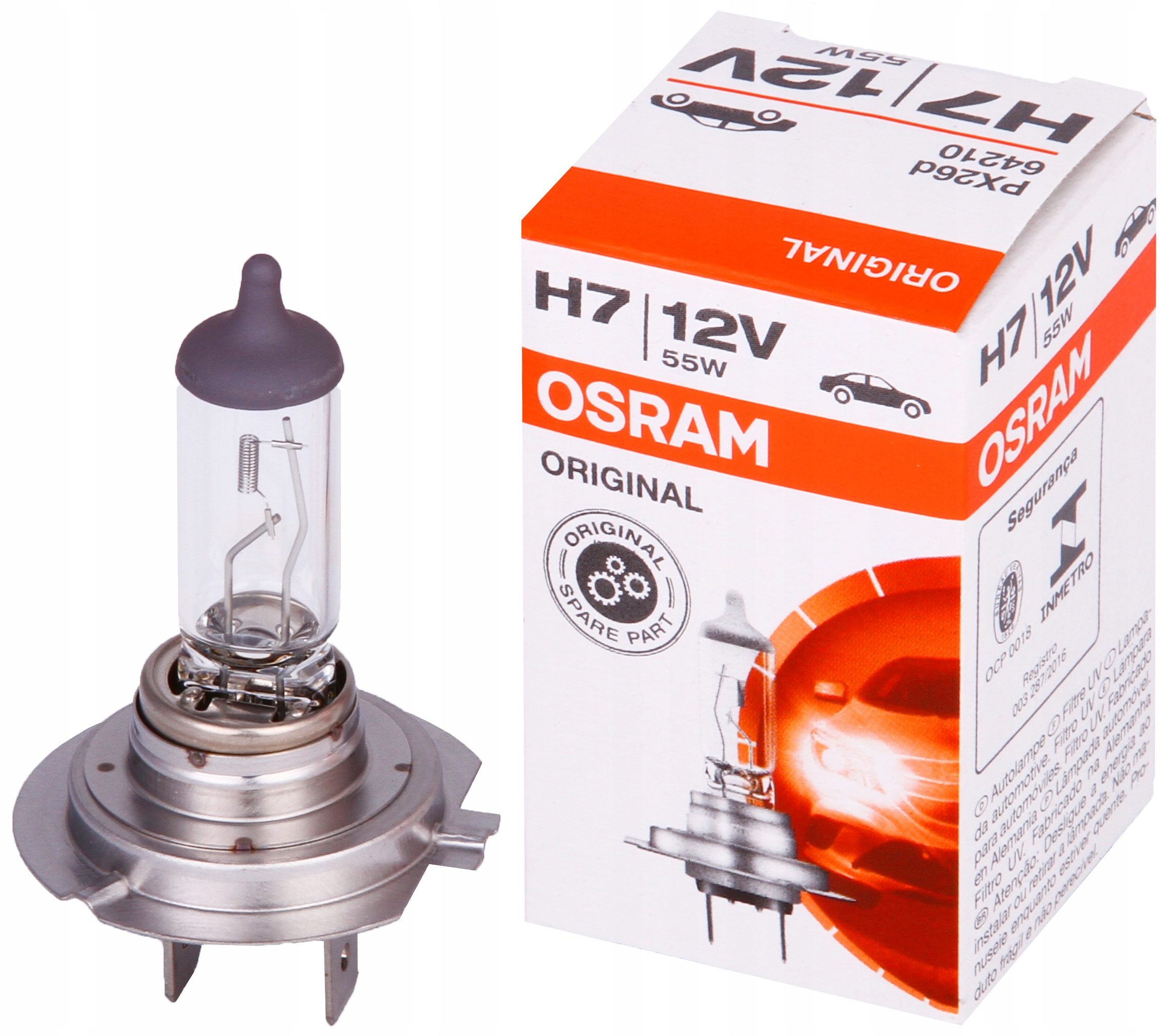 OSRAM Оригинальная лампа H7 12 В, 55 Вт, лампа PX26d 64210