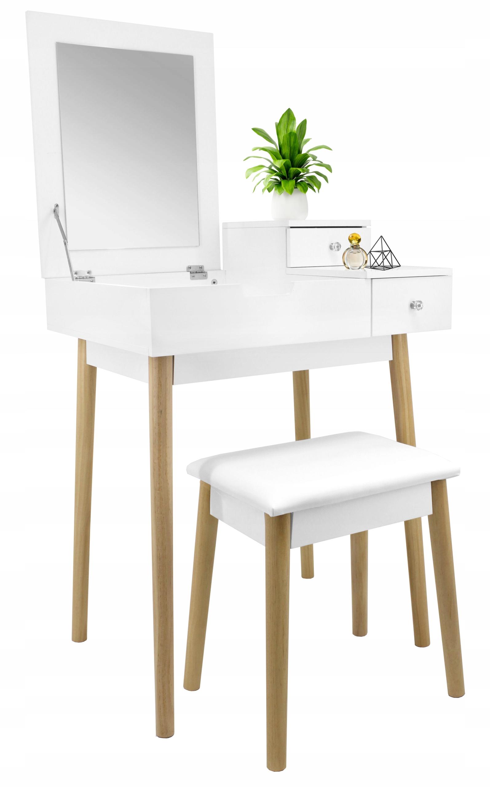 Туалетный столик зеркало для макияжа белое дерево + табурет