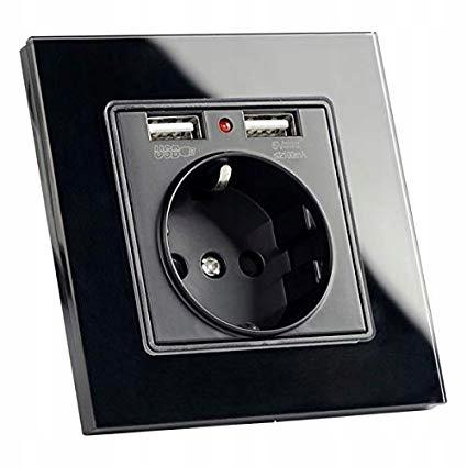 СТЕКЛЯННАЯ РОЗЕТКА С 2 x USB ЧЕРНЫЙ КОНТАКТ + CAN