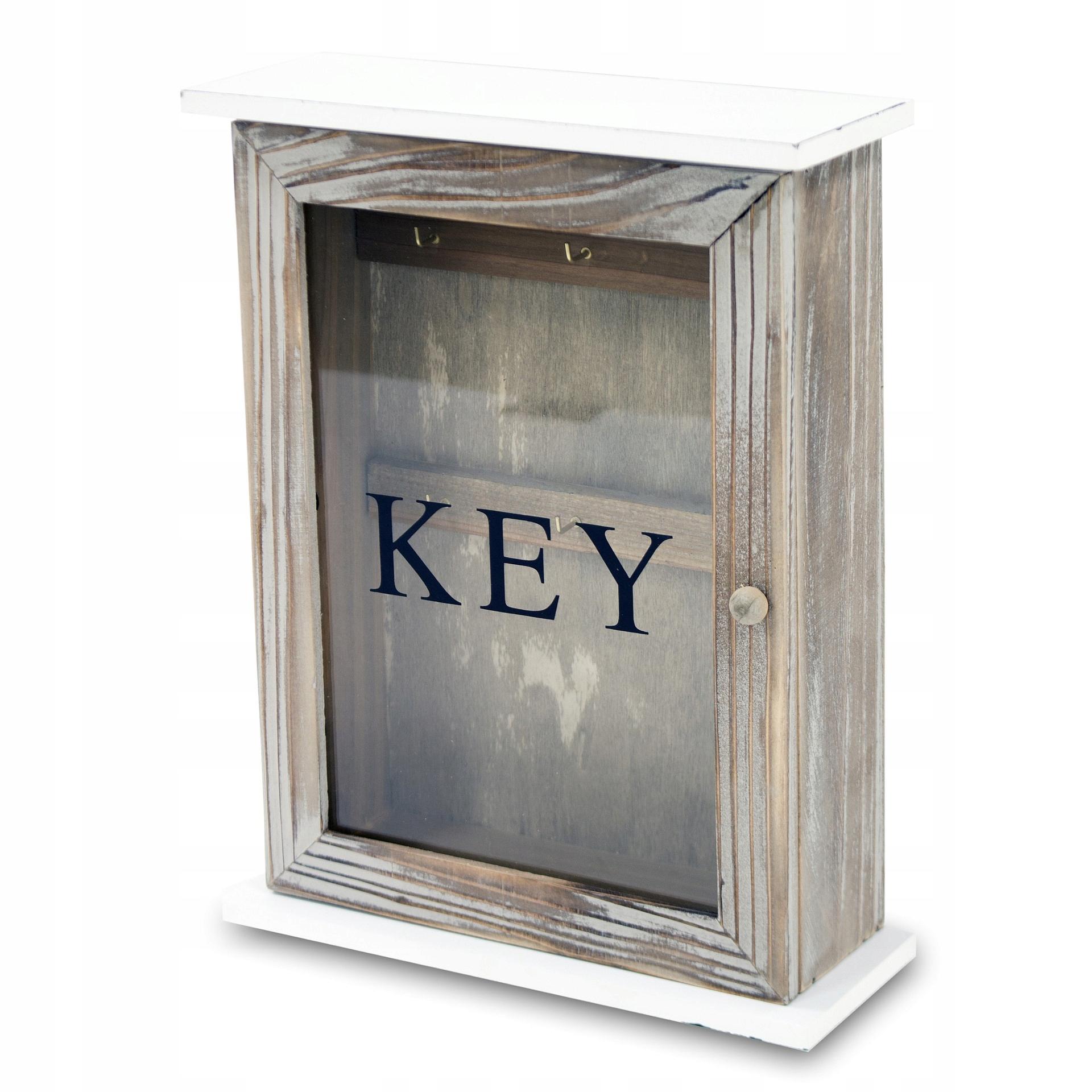 Drevený kľúč box s háčikmi šatník