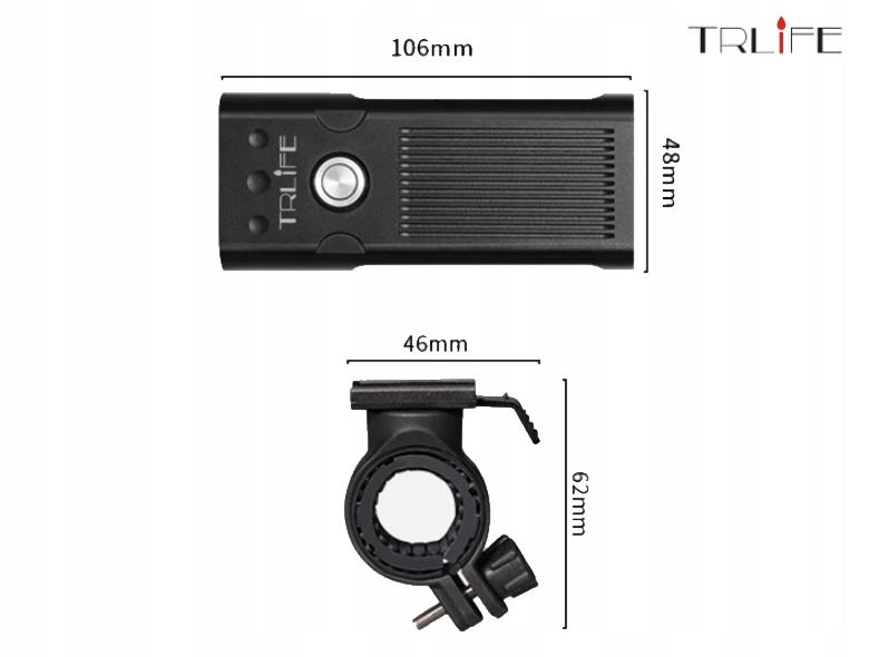 Lampa rowerowa TRLiFE NX3 1600lm 5200mAh PowerBank Rodzaj przednie