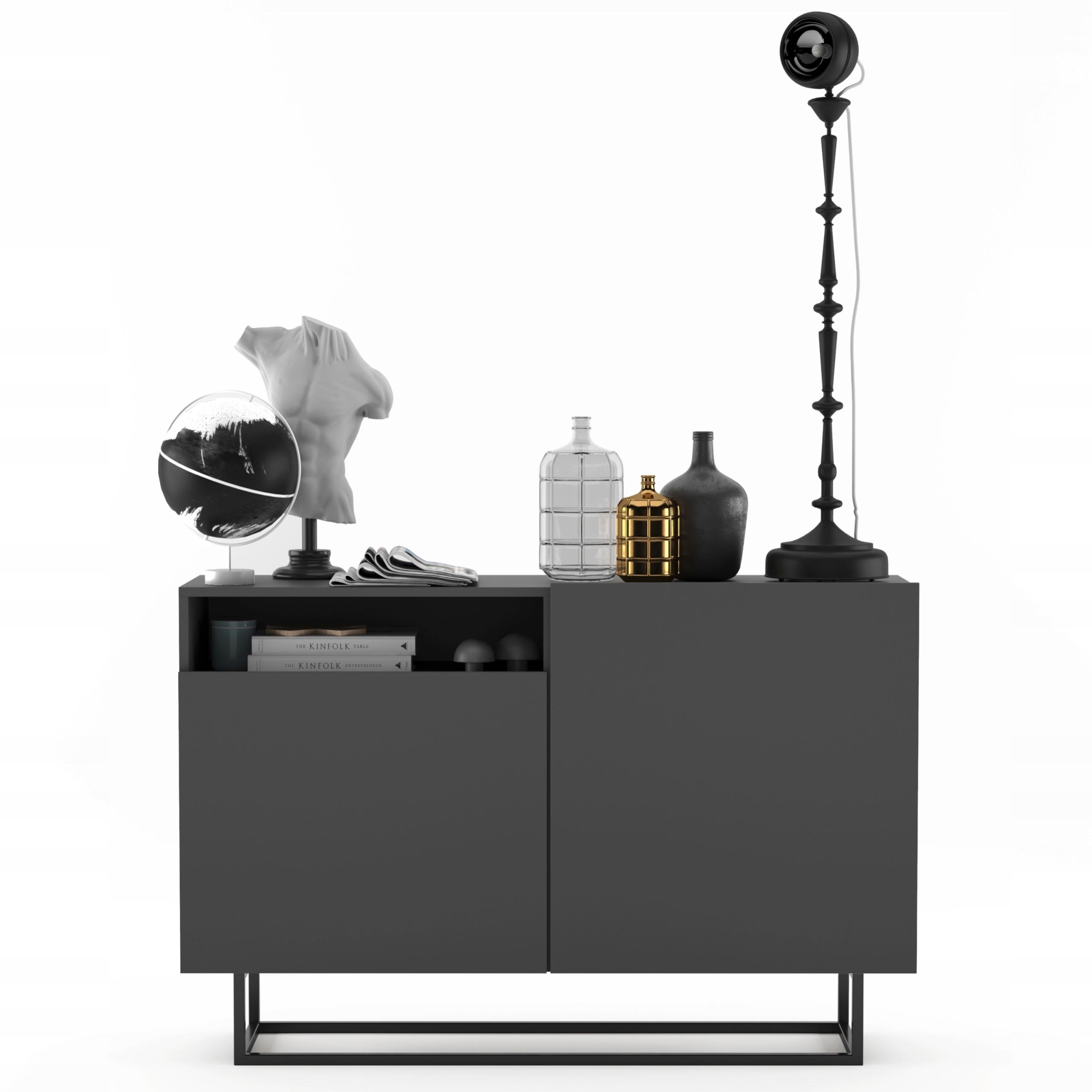 TV Loft комод, тумба под ТВ Loft, графитовый МАТ 120см
