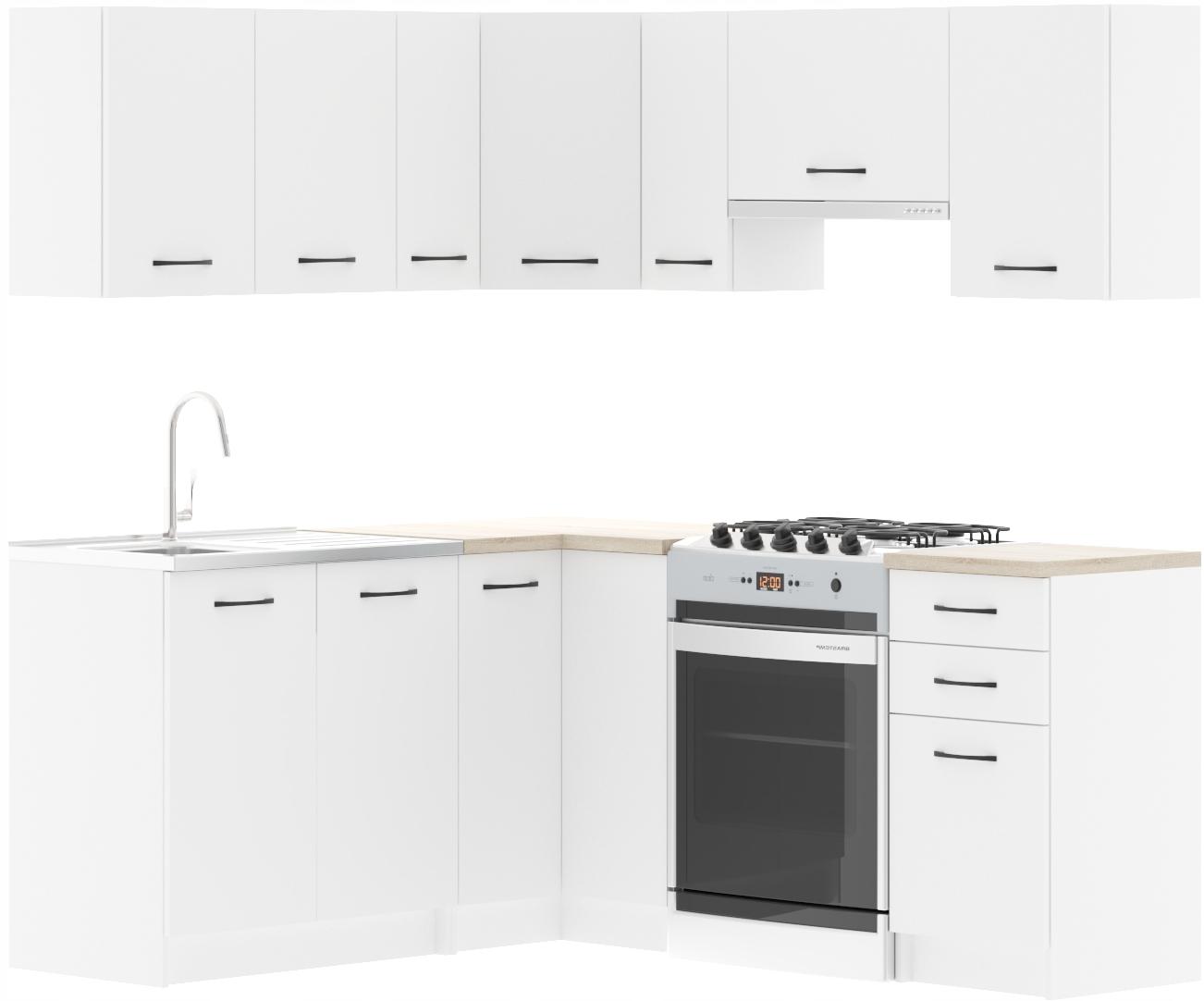 Красивый белый угловой кухонный гарнитур U-C