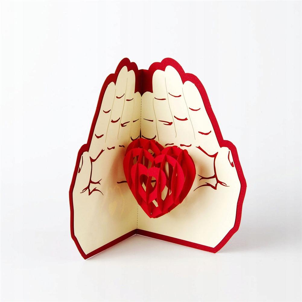 Serce w Rękach Kartka 3d Miłość Walentynki Prezent