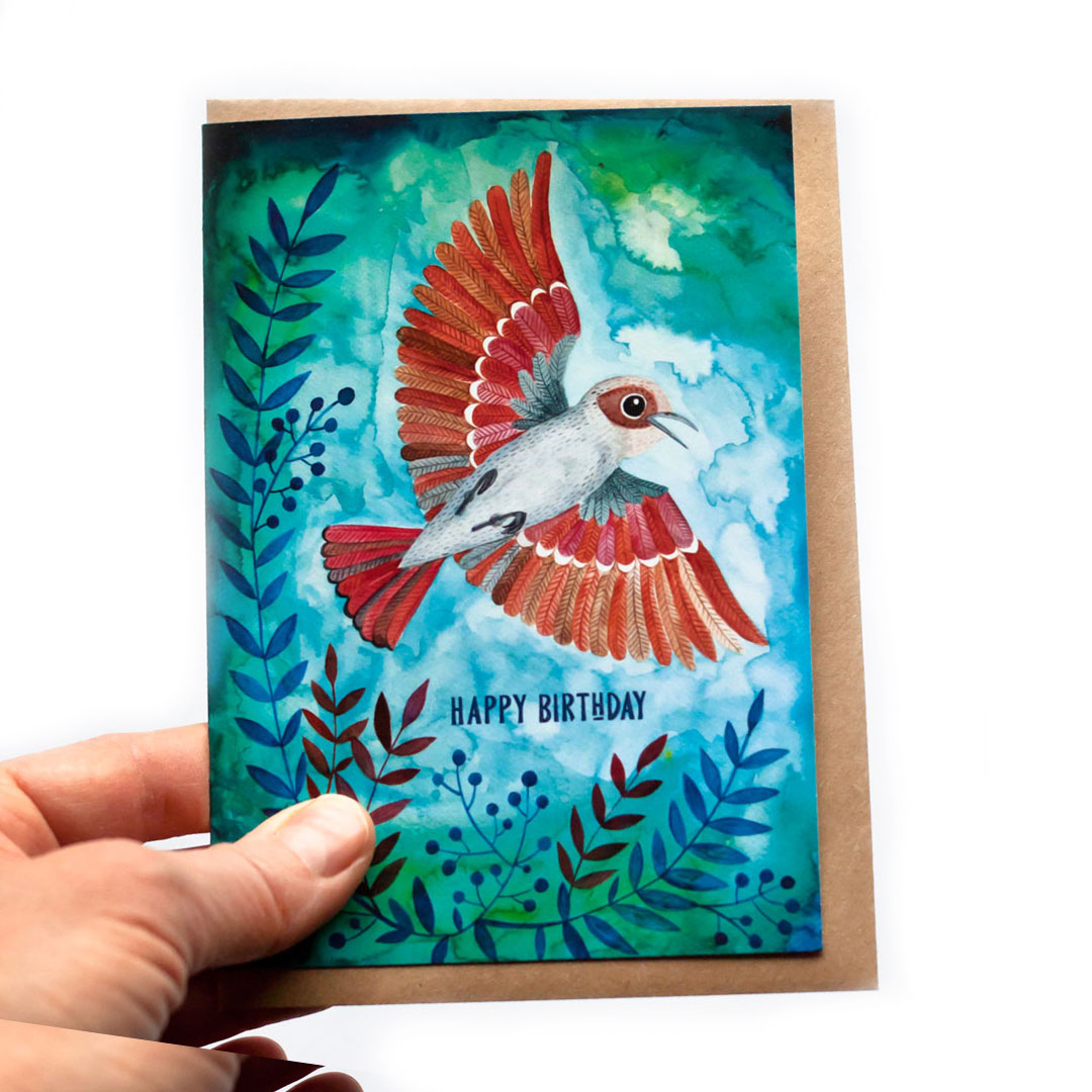 Поздравительная открытка с конвертом Bird + Eco