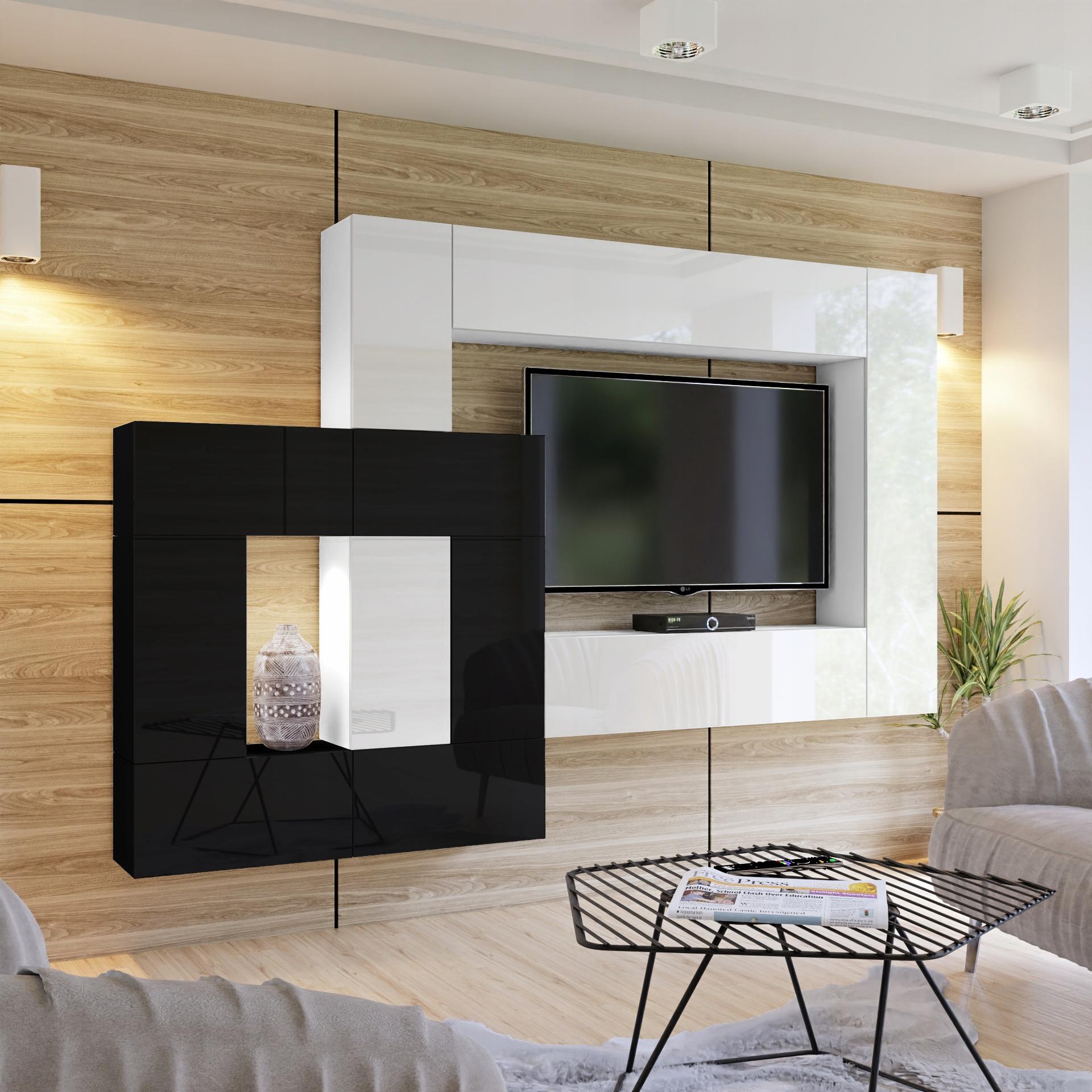 Купить Мебель для гостиной Black and white ПРЕМИУМ стенка на Otpravka - цены и фото - доставка из Польши и стран Европы в Украину.