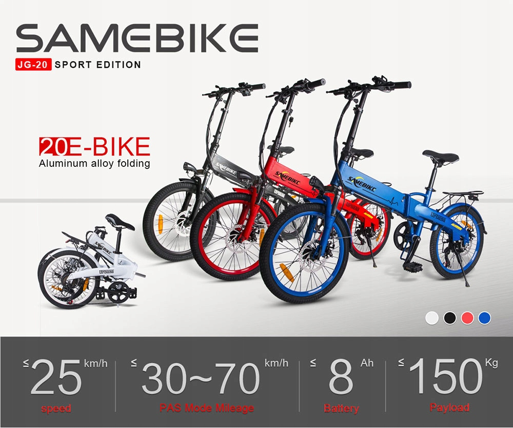 Samebike-JG20-Rower-elektryczny-250W-8Ah-Rozmiar-ramy-brak-informacji