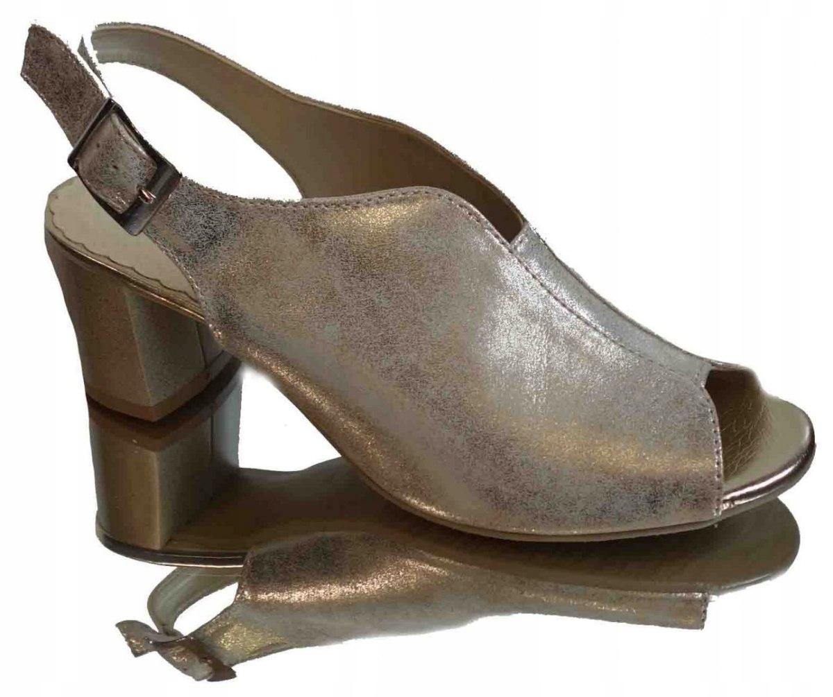 Skórzane sandałki Fashion obcas G H złote 36