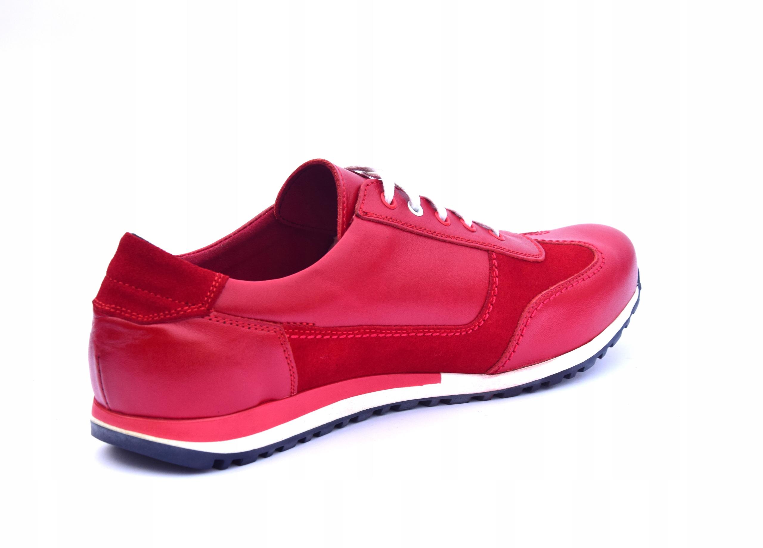 Buty skórzane czerwone obuwie ze skóry PL 294 Materiał wkładki skóra naturalna