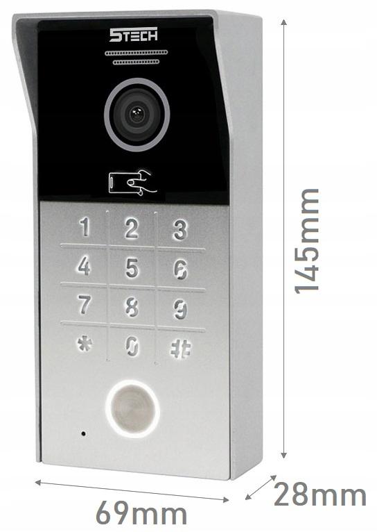 ZESTAW WIDEODOMOFON MONITOR 7' WIFI 5TECH KOD RFID Kolor biały