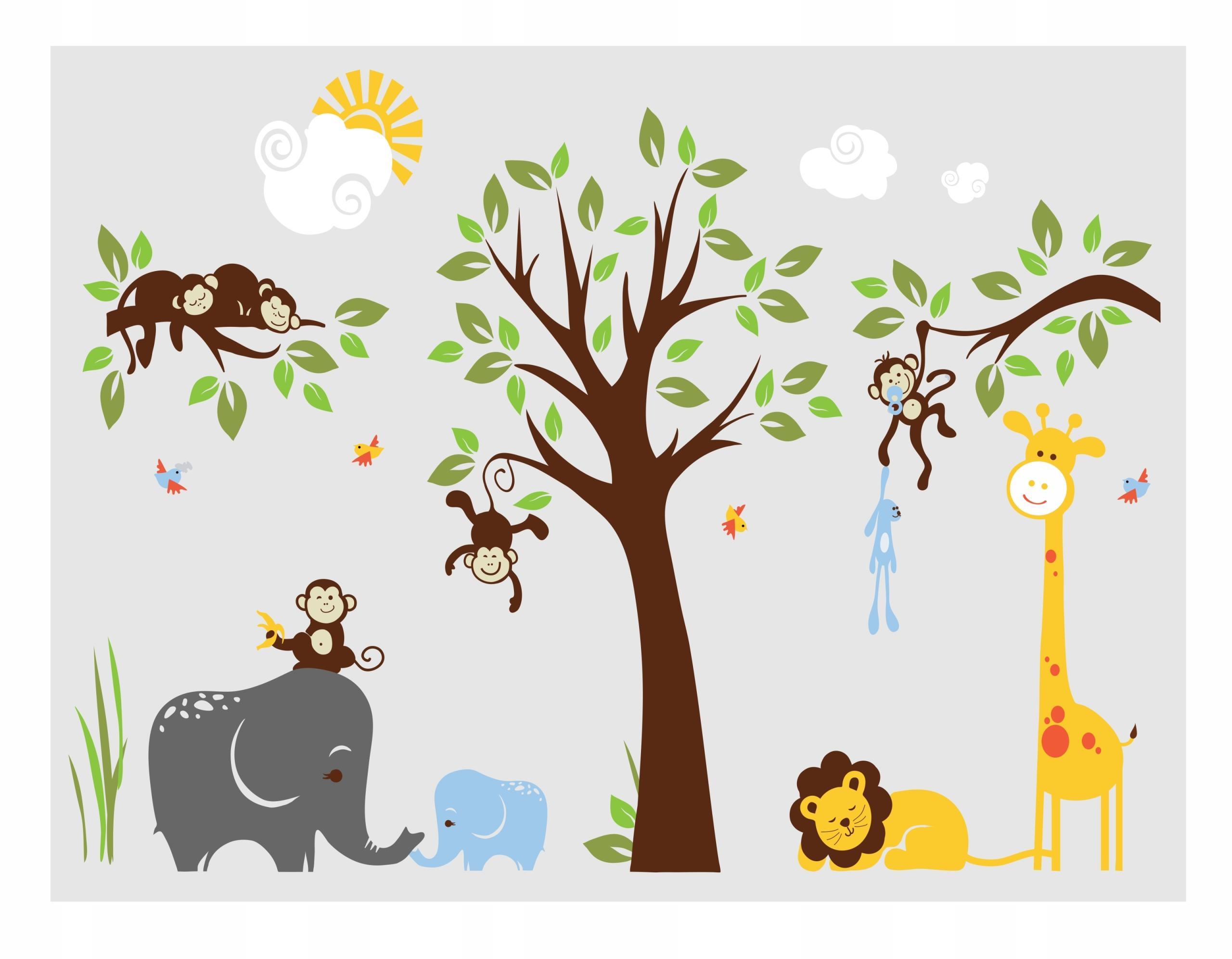 Наклейки на стену для детей Животные Зоопарк Сафари