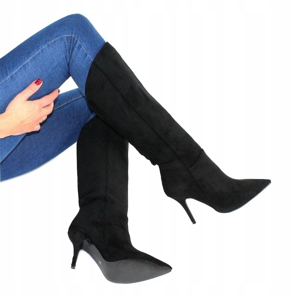 Klasyczne Kozaki Zamszowe Buty Wsuwane Szpilki 40