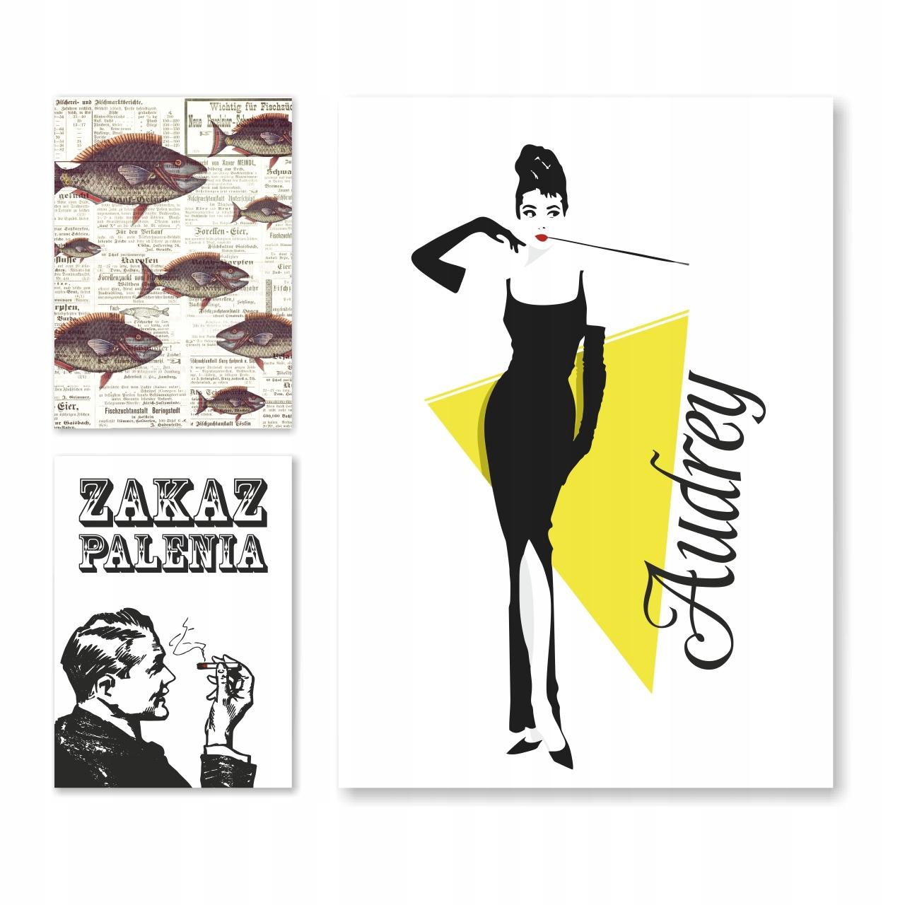 TRIPTYCH PLAGÁTY 50x70cm 3ks Retro Audrey Hepburn