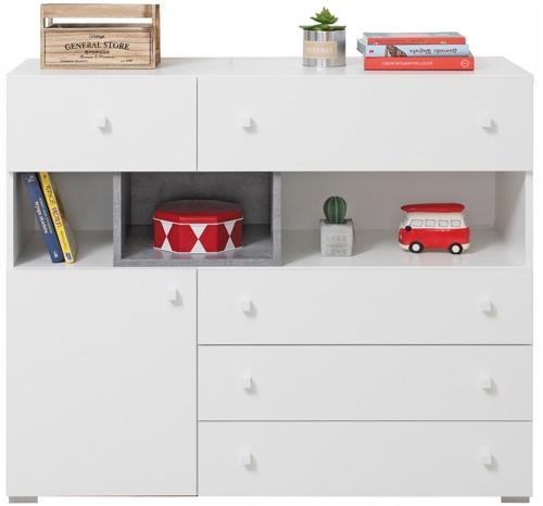 komoda biała pojemna pokoju dziecięcego Sigma 12