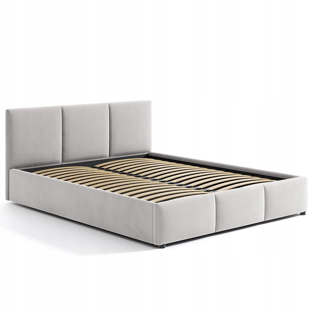 Łóżko Tapicerowane Jansy Beż Beżowe Welur 160x200 Rodzaj łóżka Podwójne
