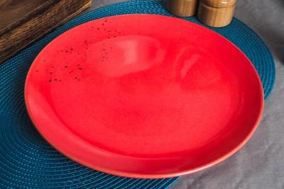 NEW Talerz obiadowy płytki kamionka czerwony 26.5