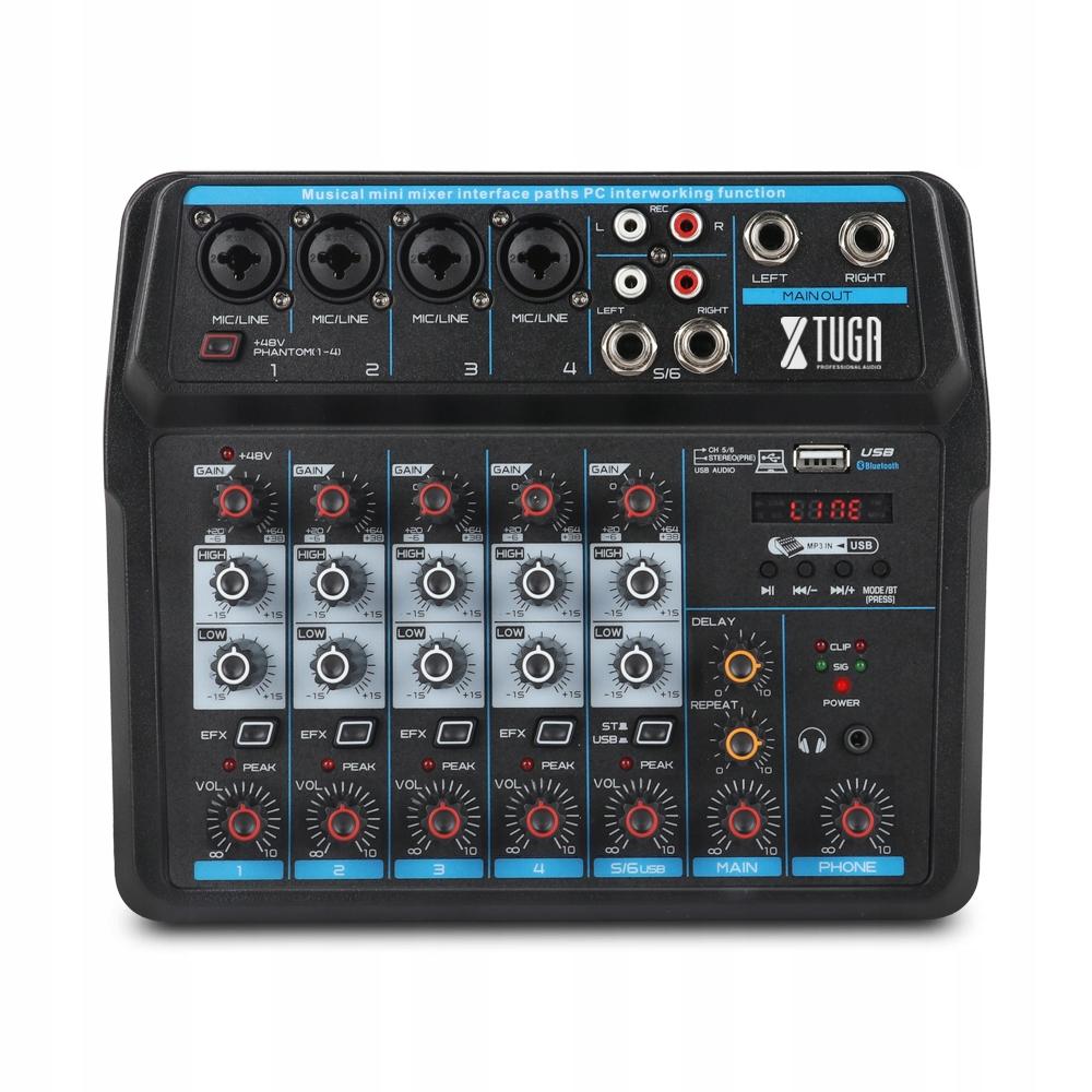 Item 6 channel mini console mixer, audio, BT,USB, 48V