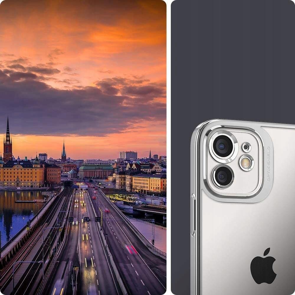 Etui Spigen Optik Crystal + Szkło do iPhone 12 Kolor srebrny